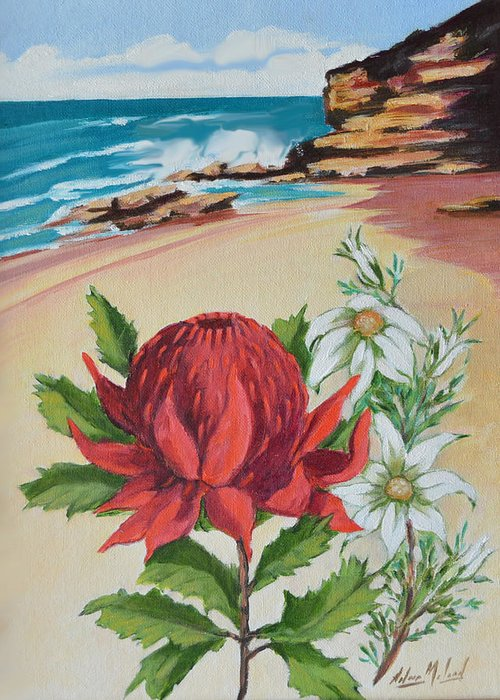 Wildflower Study Greeting Card featuring the painting Wildflowers And Headland by Aileen McLeod