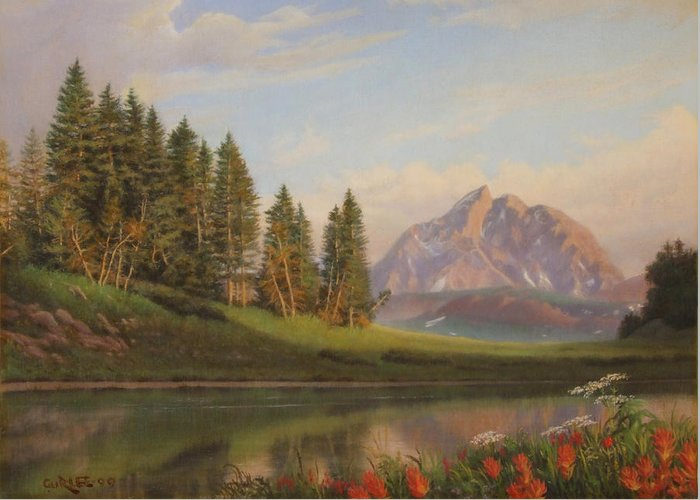 Western Greeting Card featuring the painting Wildflowers Mountains River Western Original Western Landscape Oil Painting by Walt Curlee