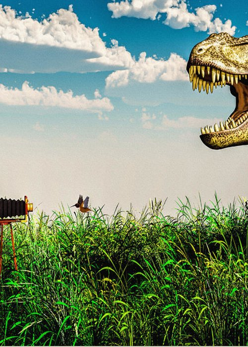 Dinosaur Greeting Card featuring the digital art Wildlife Photographer by Bob Orsillo