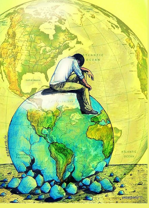 Sick World Greeting Card featuring the digital art Will Healthy The One That Adapts The Sick Society by Paulo Zerbato
