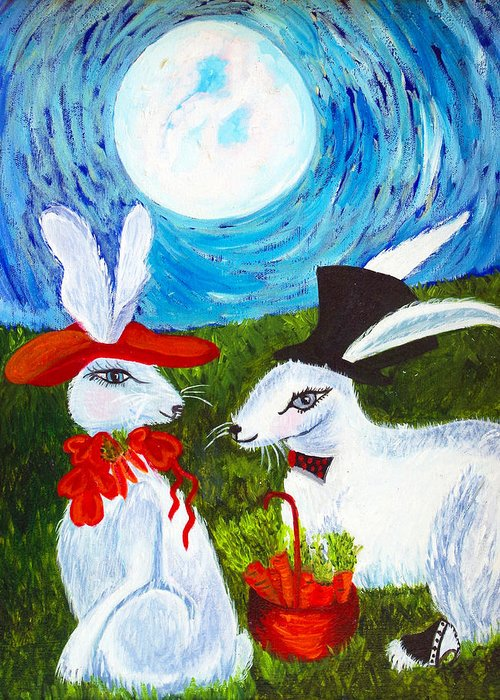 Full Moon Greeting Card featuring the painting Will You by Donna Parker