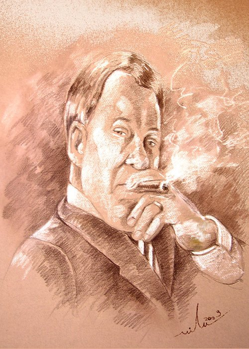 Portrait William Shatner Greeting Card featuring the painting William Shatner As Denny Crane In Boston Legal by Miki De Goodaboom