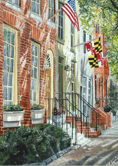 Baltimore Greeting Card featuring the painting William Street Summer by John Schuller