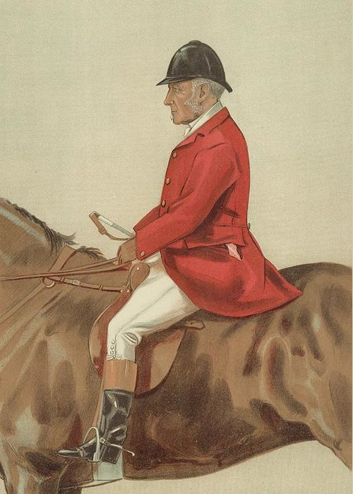 Caricature; William Ward Tailby; Leicestershire Man; 6 April 1899; Vanity Fair; Cartoon; Horse; Hunt; Hunting Greeting Card featuring the painting William Ward Tailby by Sir Samuel Luke Fildes