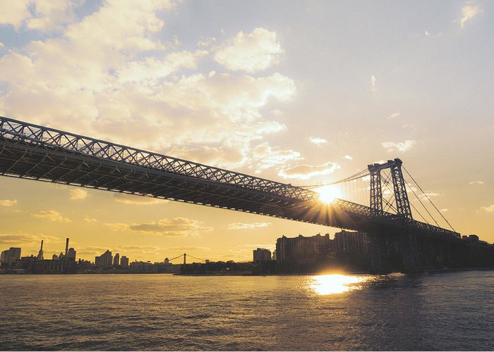Brooklyn Greeting Card featuring the photograph Williamsburg Bridge - Sunset - New York City by Vivienne Gucwa