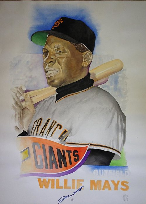 San Francisco Giants Greeting Card featuring the painting Willie Mays by Robert Myers