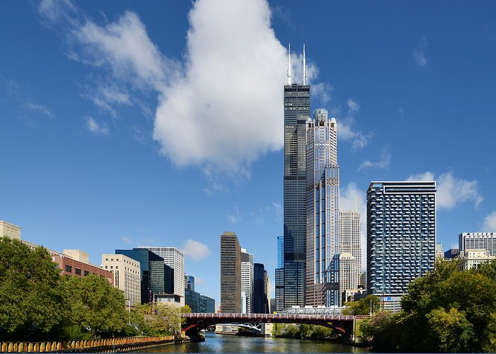 Willis Greeting Card featuring the photograph Willis Tower And 311 South Wacker Drive Chicago by Christine Till