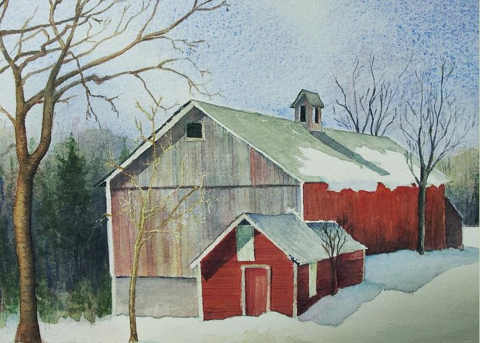 Christmas Card Greeting Card featuring the painting Williston Barn by Mary Ellen Mueller Legault