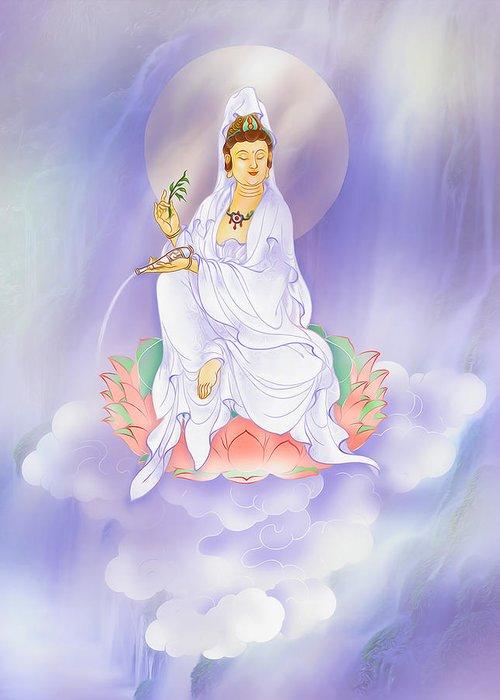 Avalokitesvara Greeting Card featuring the photograph Willow Kuan Yin by Lanjee Chee