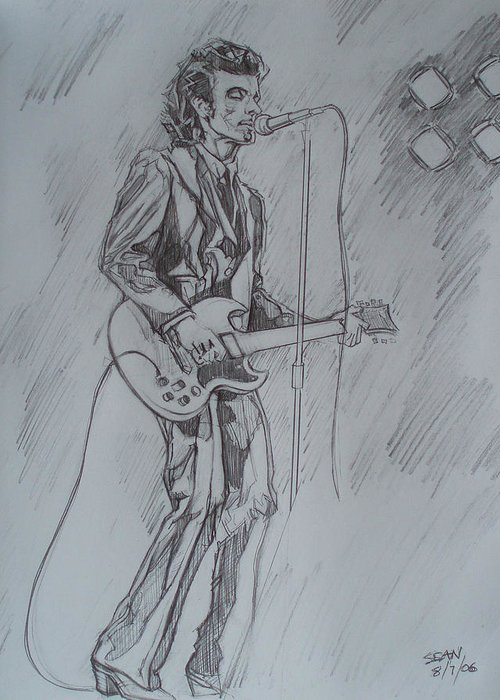 Pencil Greeting Card featuring the drawing Willy Deville - Steady Drivin' Man by Sean Connolly