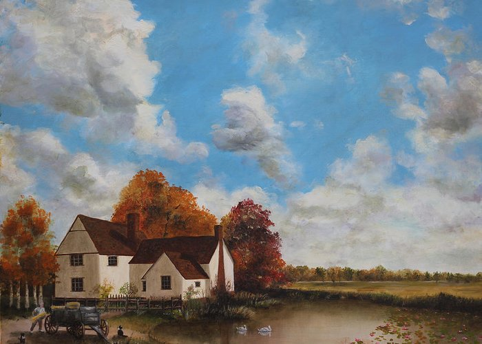 An Original Oil Painting By Cecilia Brendel - John Constable Painted Willy Lotts Cottage Landscape English England Countryside Country Landscape Hay Wain Flat Bush Iron Greeting Card featuring the painting Willy Lott's Cottage by Cecilia Brendel