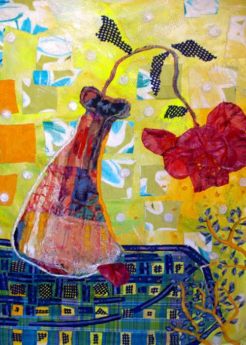Flower In A Vase Greeting Card featuring the mixed media Wilting Rose by Diane Fine