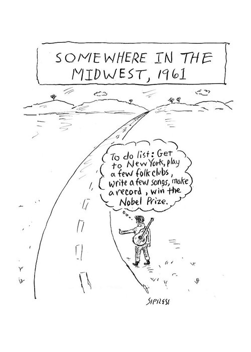 Somewhere In The Midwest Greeting Card featuring the drawing Win The Nobel Prize by David Sipress