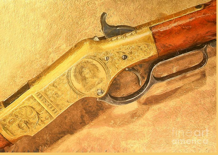 Greeting Card featuring the painting Winchester 1866 Yellow Boy Rifle by Odon Czintos