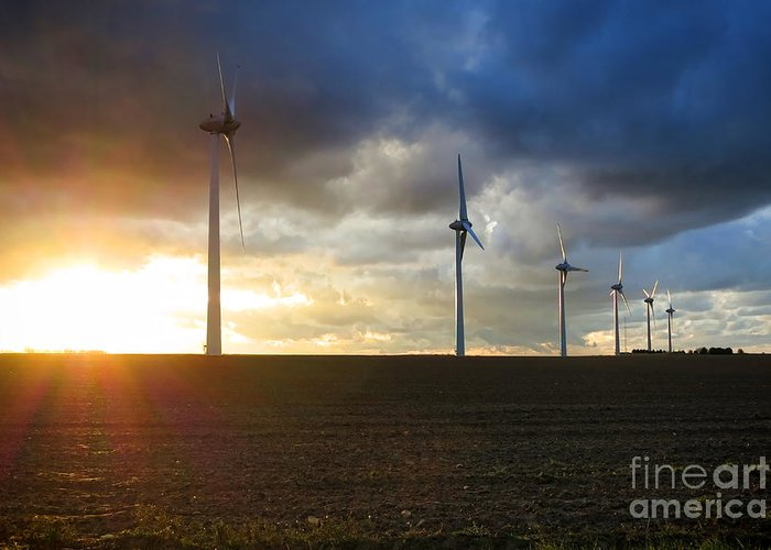 Windmill Greeting Card featuring the photograph Wind And Sun by Olivier Le Queinec