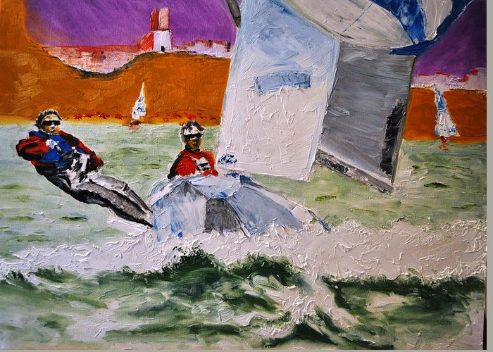 Boat Greeting Card featuring the painting Wind Chaser by Ruben Barbosa