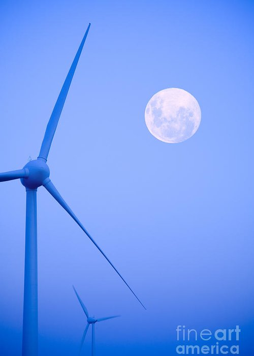 Wind Greeting Card featuring the photograph Wind Farm And Full Moon by Colin and Linda McKie