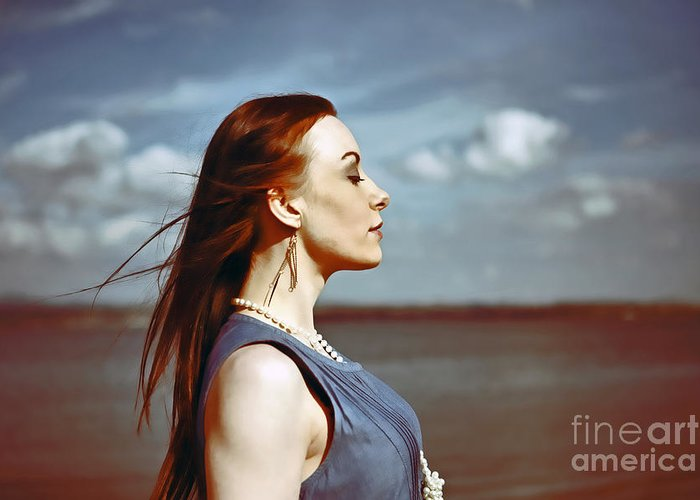 Blue Dress Greeting Card featuring the photograph Wind In Her Hair by Craig B