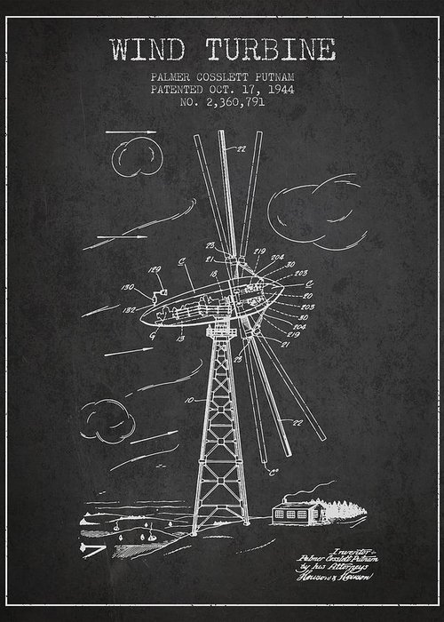 Wind Turbine Greeting Card featuring the digital art Wind Turbine Patent From 1944 - Dark by Aged Pixel