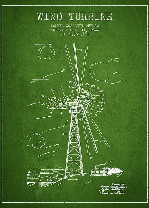 Wind Turbine Greeting Card featuring the digital art Wind Turbine Patent From 1944 - Green by Aged Pixel
