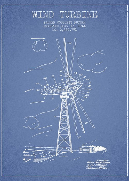 Wind Turbine Greeting Card featuring the digital art Wind Turbine Patent From 1944 - Light Blue by Aged Pixel