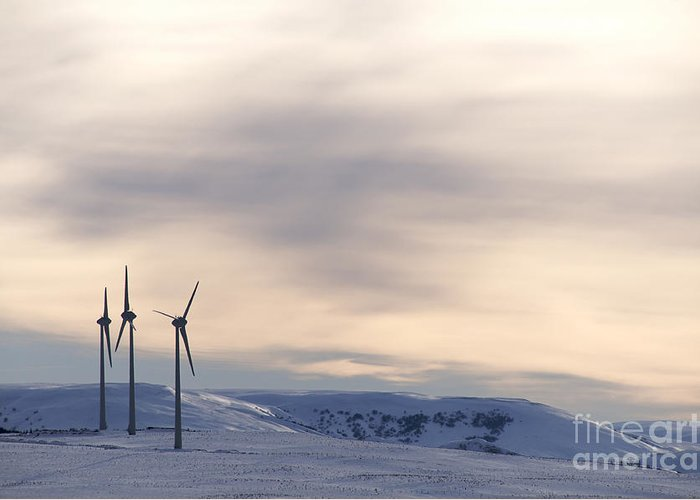 Propellers Greeting Card featuring the photograph Wind Turbines In Winter by Bernard Jaubert