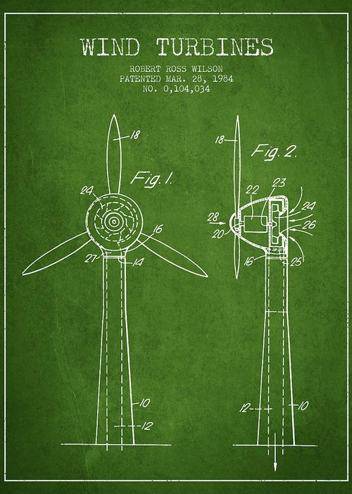 Wind Turbine Greeting Card featuring the digital art Wind Turbines Patent From 1984 - Green by Aged Pixel