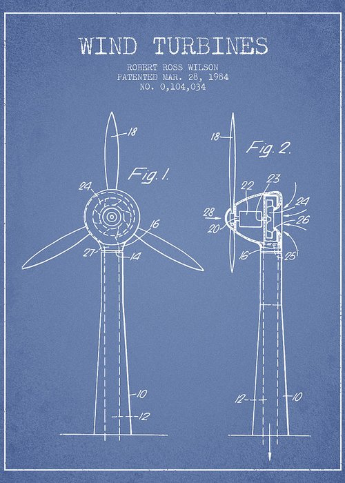 Wind Turbine Greeting Card featuring the digital art Wind Turbines Patent From 1984 - Light Blue by Aged Pixel