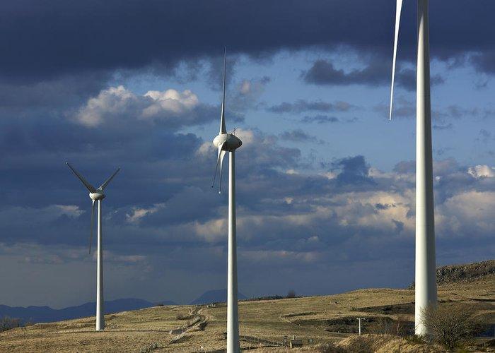 Alternative Greeting Card featuring the photograph Wind Turbines. Region Auvergne. France by Bernard Jaubert
