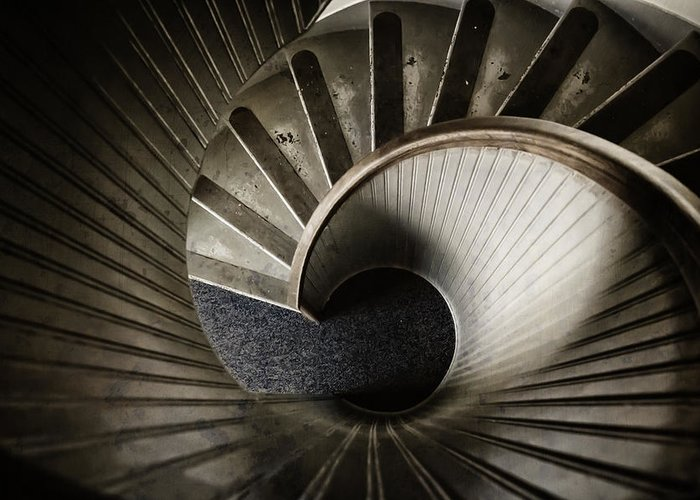 Staircase Greeting Card featuring the photograph Winding Down by Joan Carroll