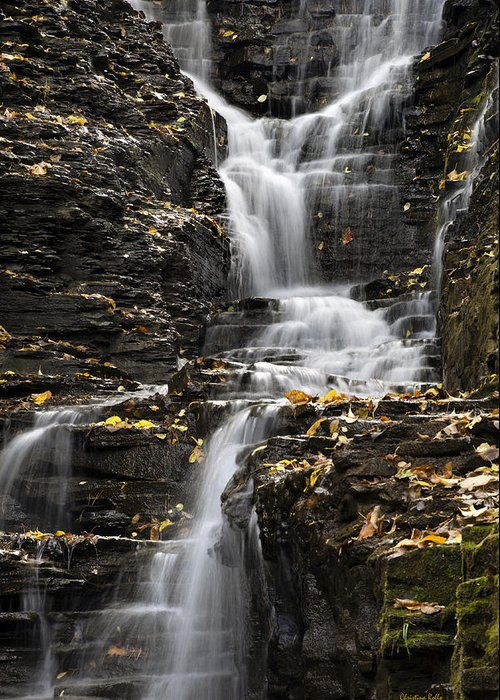 Winding Greeting Card featuring the photograph Winding Waterfall by Christina Rollo