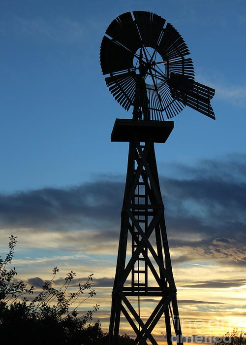 Windmill Greeting Card featuring the photograph Windmill At Sunset by Steven Parker