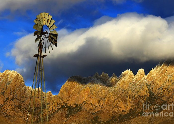 Windmill. Organ Mountain Greeting Card featuring the photograph Windmill At The Organ Mountains New Mexico by Bob Christopher