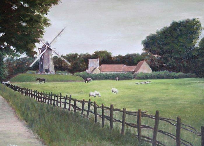 Farm Greeting Card featuring the painting Windmill On Farm by Jennifer Lycke