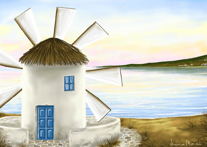 Windmills Greeting Card featuring the painting Windmill by Veronica Minozzi