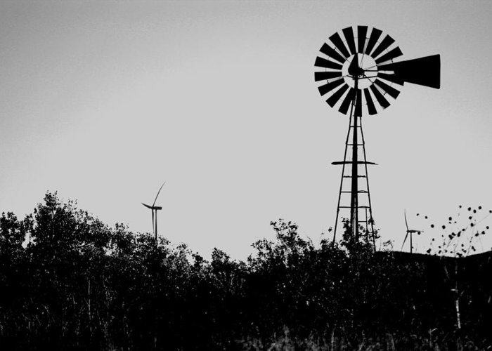 Windmill Greeting Card featuring the photograph Windmills Now And Then by William Tegtmeyer