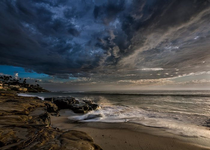 Clouds Greeting Card featuring the photograph Windnsea Stormy by Peter Tellone