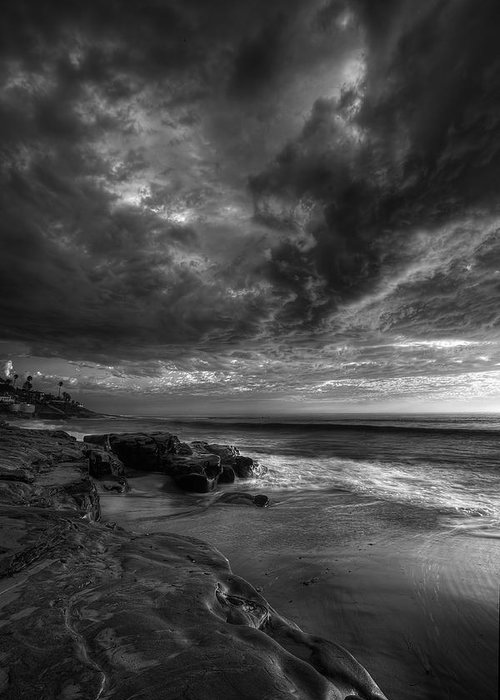 Clouds Greeting Card featuring the photograph Windnsea Stormy Sky Bw by Peter Tellone