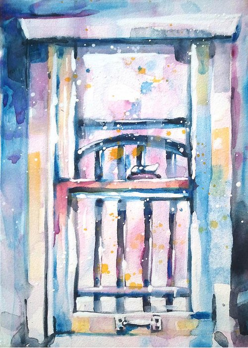 Watercolor Greeting Card featuring the painting Window 1 by Kelly Johnson