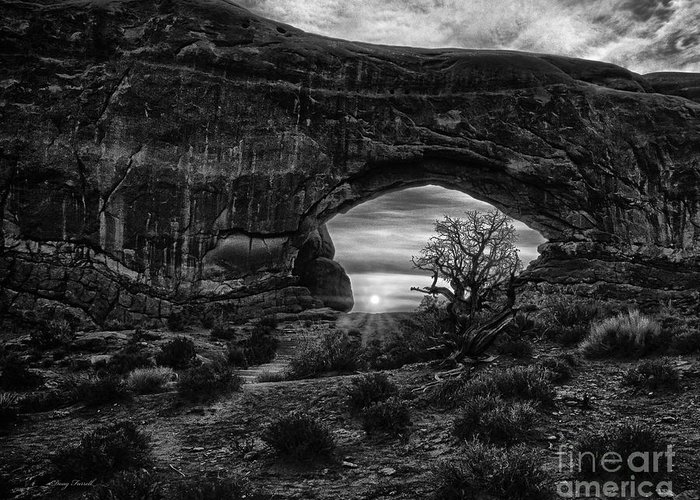 Landscape Greeting Card featuring the photograph Window Arch At Sunrise by Doug Farrell