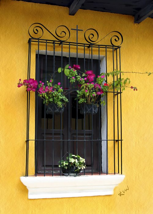 Window Greeting Card featuring the photograph Window At Old Antigua by Kurt Van Wagner