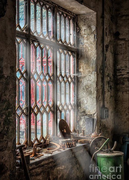 British Greeting Card featuring the photograph Window Decay by Adrian Evans
