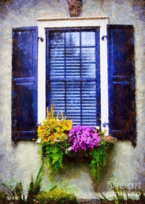Milford Pa Greeting Card featuring the photograph Window Flower Box View by Janine Riley