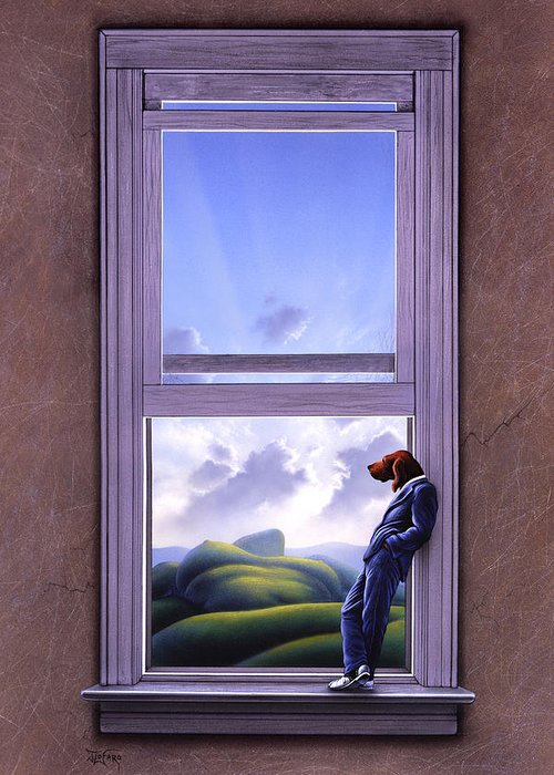 Surreal Greeting Card featuring the painting Window Of Dreams by Jerry LoFaro