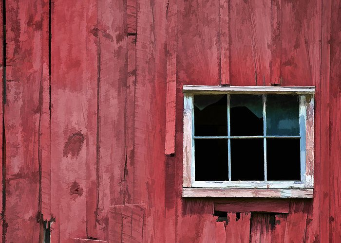 Abandon Greeting Card featuring the photograph Window On A Red Barn by David Letts