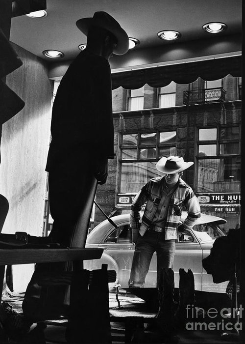 Retail Greeting Card featuring the photograph Window Shopping Cowboy by Photo Researchers
