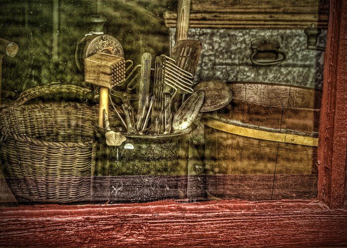 Vintage. Window. Kitchen Utensils. Vintage Kitchen Utensils. Wooden Baskets. Wooden Bowls. Metal Bread Box. Meat Grinder. Photography. Prints. Digital Art. Texture. Canvas. Poster. Greeting Card. Greeting Card featuring the photograph Window Shopping by Mary Timman
