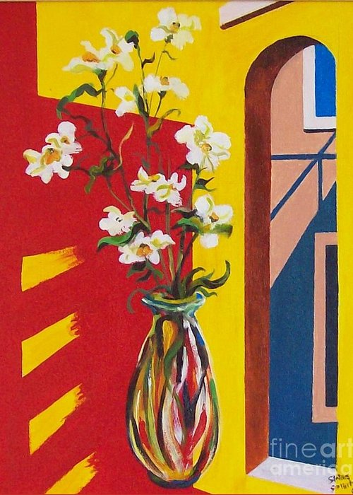 Still Life Greeting Card featuring the painting Window by Sinisa Saratlic