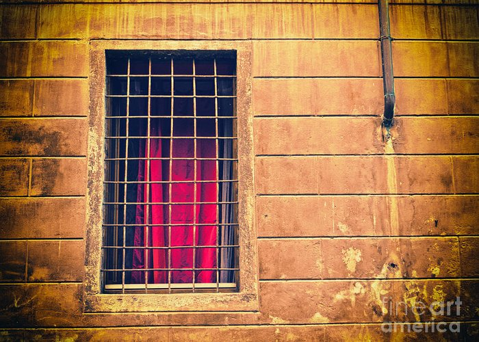 Architecture Greeting Card featuring the photograph Window With Grate And Red Curtain by Silvia Ganora