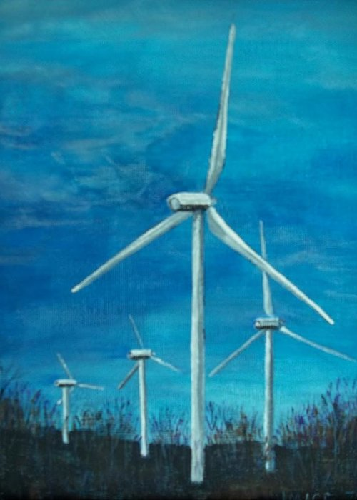 Windmill Greeting Card featuring the painting Winds Of Change by Joan Mace